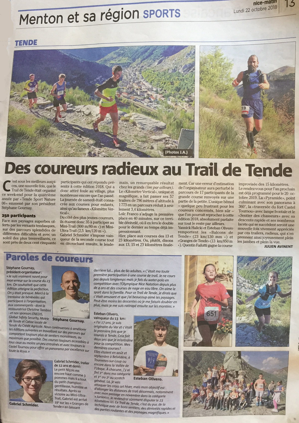Article de Julien Avinent - Nice Matin 21 octobre 2018